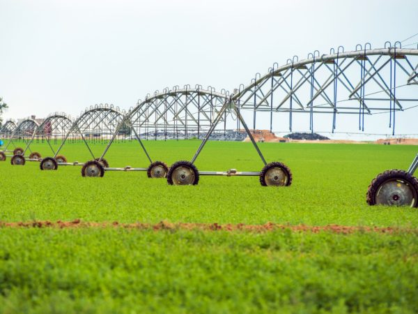 Crop Watering by Center Pivot Sprinklers Agriculture Theme. Crop Watering Equipment