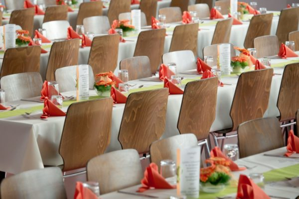 Special Event long tables with colorful napkins