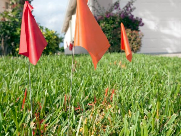 staked flags indicating utlitiy lines in yard