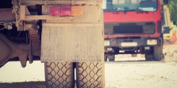 construction truck tire close up